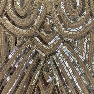 Dresses - 1920s Sequin Beaded Flapper Fringe Dress - Gold